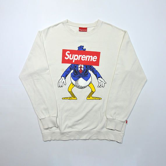 7200efa227 Rare Vintage SUPREME Crewneck   SUPREME Logo Box Censored Donald Duck   90s  Sweatshirt   SUPREME Sweater   Supreme Disney   Donald Duck