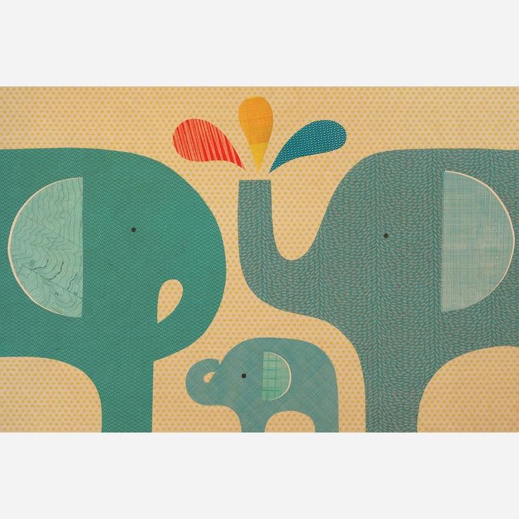Elephant Family Jumbo Wood Panel  by Petit Collage http://fab.com/iochyc: Elephants, Family Jumbo, Elephantfamily, Families, Woods