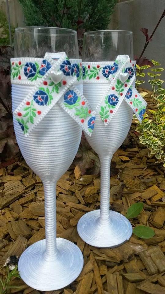 Wedding cup decorated with folklore ribbon. Handmade Slovakia Price: 19,95 €  Contact: mirka.lojanova@gmail.com