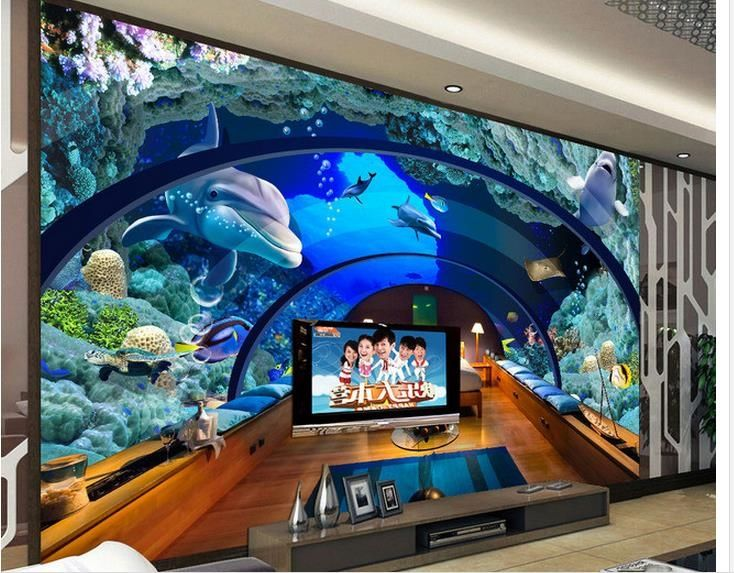 Best 25 3d wallpaper ideas on pinterest grey textured for Aquarium mural gifi