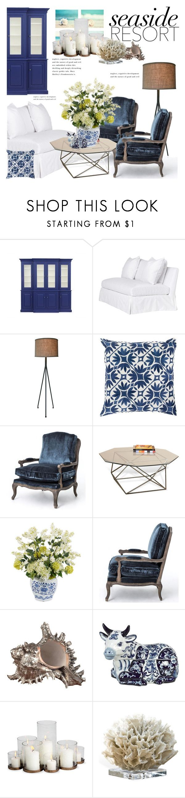 """""""Seaside Resort"""" by janephoto ❤ liked on Polyvore featuring interior, interiors, interior design, home, home decor, interior decorating, Modern Burlap, LG, Pols Potten and WALL"""