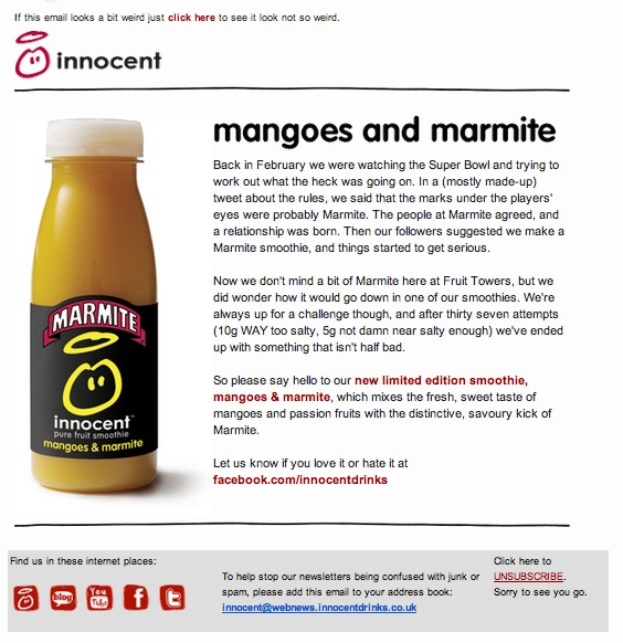mangoes & marmite, new limited edition innocent smoothie £1.95   spoof april 1st