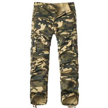 Men's Camouflage Casual Cargo Pants Straight Leg 6 Pockets Cotton Trousers