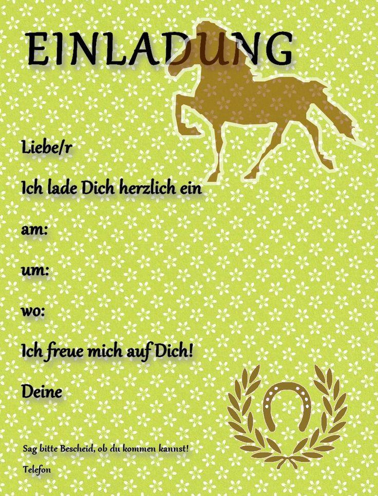 Partyleihkiste.de - Kostenlose Einladungskarten für Pferdegeburtstag oder Pferdeparty für KIDS.   Die PDF Datei einfach speichern, auf einem stabilen Papier oder Karton ausdrucken und mit einem schönen Stift die wichtigsten Infos beschriften. Los gehts...