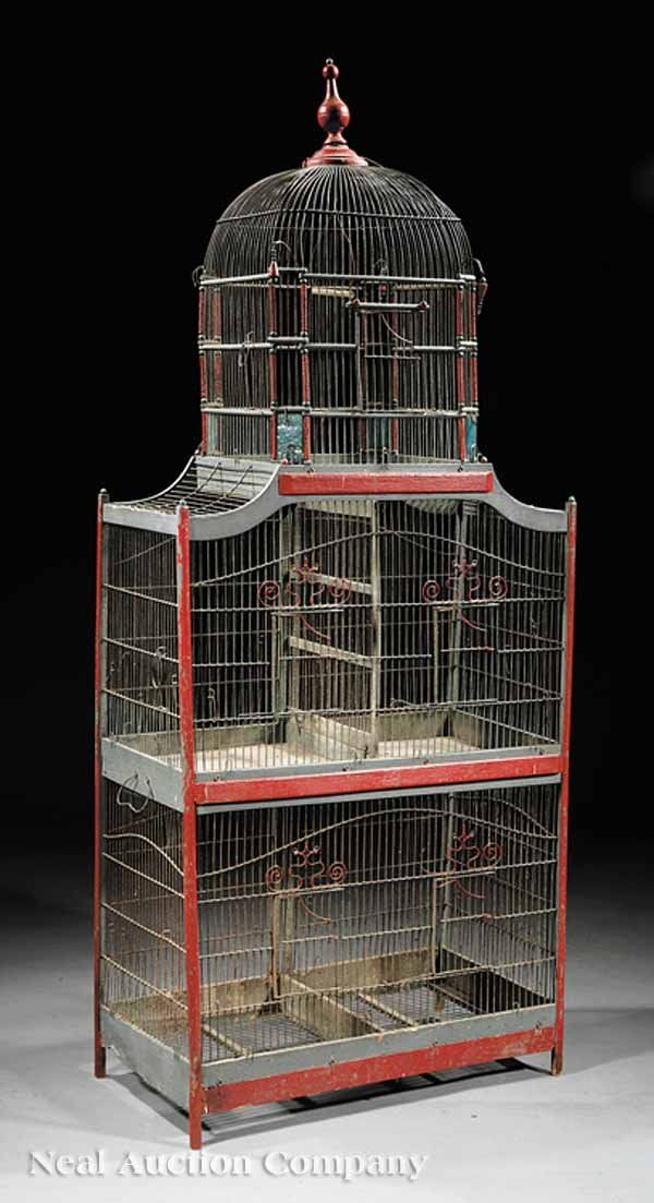French Painted Wood and Wirework Birdcage c. 1900 ‍♀️‍♀️Antique bird cage‍♀️‍♀️More Pins Like This At FOSTERGINGER @ Pinterest‍♀️