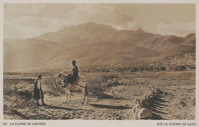 Η πεδιάδα των Λακωνιών στον δρόμο προς την αρχαία Λατώ.   La plaine de Lakonia. Sur le chemin de Lato. 1919   BAUD-BOVY, Daniel, BOISSONNAS, Frédéric. Des Cyclades en Crète au gré du vent, Γενεύη, Boissonnas & Co, 1919.