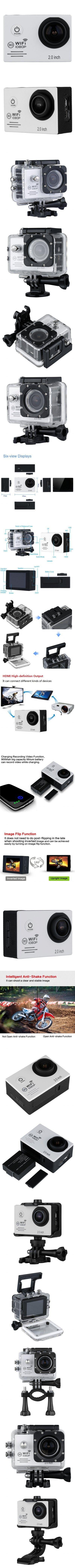 2.0 inch 12MP HD 1080P H.264 170°WiFi Anti-shake Full HD DV Sport Camera -$53.16