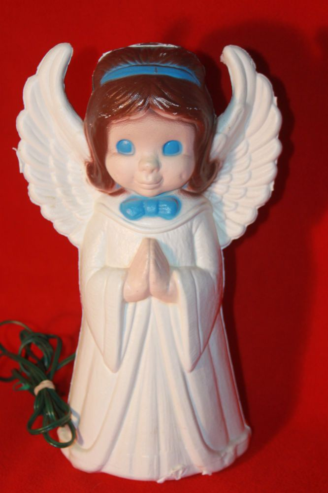 Christmas Angel 13  Hard Blown Plasti Light Up Blue Eyes Brown Hair