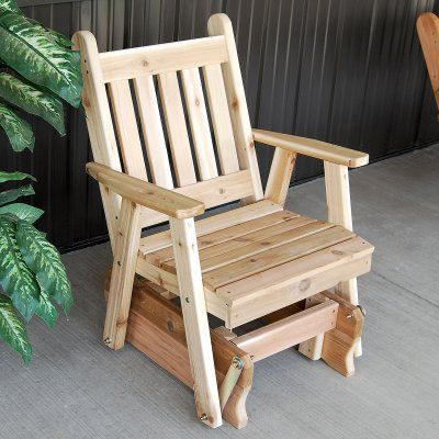 A & L Furniture Western Red Cedar Traditional English 2 ft. Outdoor Glider Chair Unfinished - 654C-UNFINISHED