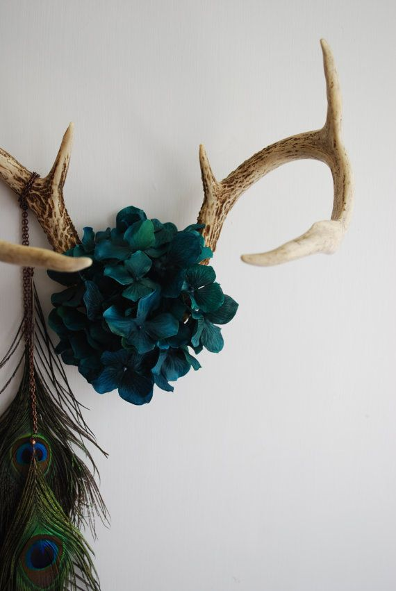 Deer Antlers with Flowers & Peacock Feathers - Wall Hanging Taxidermy 7 Point Rack Home Decor Teal Hydrangea Jewelry Necklace Holder. $130.00, via Etsy.