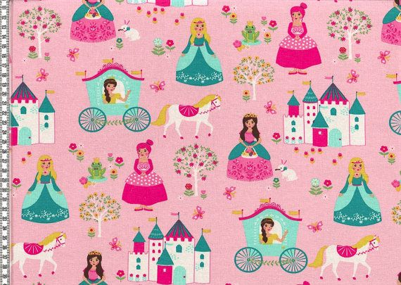 Cotton jersey fabric princess fabric fairytale by FabrictalesShop