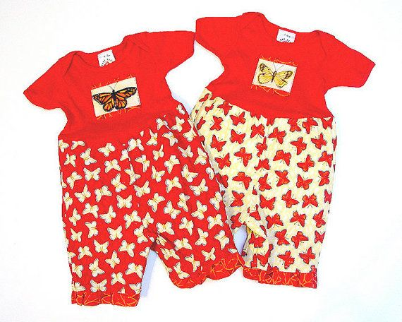 Twin Baby Girl Matching Set 100% Cotton Handmade Butterfly  Rompers by BerryPatchUSA, $69.00 www.etsy.com/listing/38471775