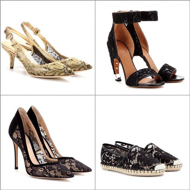 Кружевная обувь. Разная! #ss2014 #dolcegabbana 495€ #Givenchy 895€ #GianvitoRossi 595€ #Valentino 360€