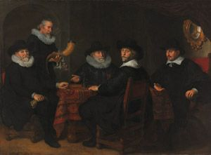 Two large-scale group portraits from the Dutch Golden Age, on long-term loan from the Rijksmuseum two of Amsterdam's most important portraitists from the mid-17th century, Govert Flinck (1615–1660) and Bartholomeus van der Helst (1613–1670), have immortalized the civic pride of the men who governed the Kloveniersdoelen, the building where one of Amsterdam's three militia companies held its meetings.Group Portraits, Bartholomeus Vans, 1642 Oil, 01 Dutch, Flinck Dutch, Dutch Art, Govert Flinck, Art 01, National Gallery