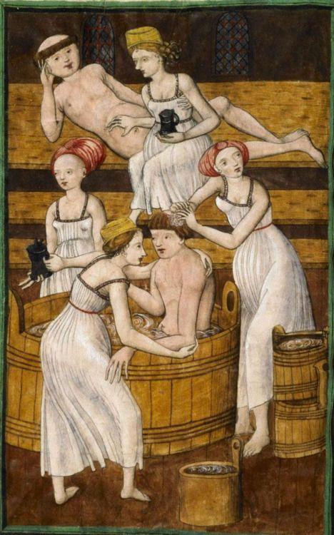 demonagerie:    Knihovna Národního muzea v Praze; Praha; Česká republika, IV.B.24, f. 78v ('Monks in the bath'). Jenský kodex Antithesis Christi et Antichristi, 1490-1510.