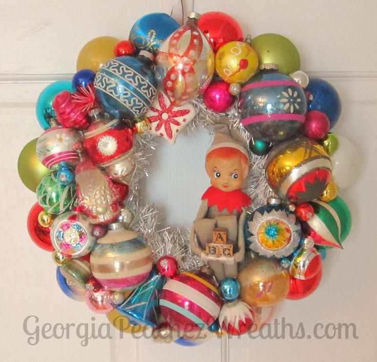Image Of Vintage Shiny U0026 Brite Christmas Ornament Wreath 1315   Diameter