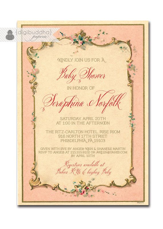 {Seraphina} French Baby Shower Invitation Antique Pink by digibuddhaPaperie, $20.00  https://www.etsy.com/listing/119883381/french-baby-shower-invitation-antique