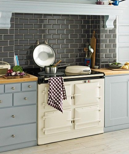Dark tile with pale blue units and cream aga