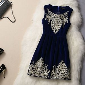 Blue Velvet Dress with Embroidery Pattern #172