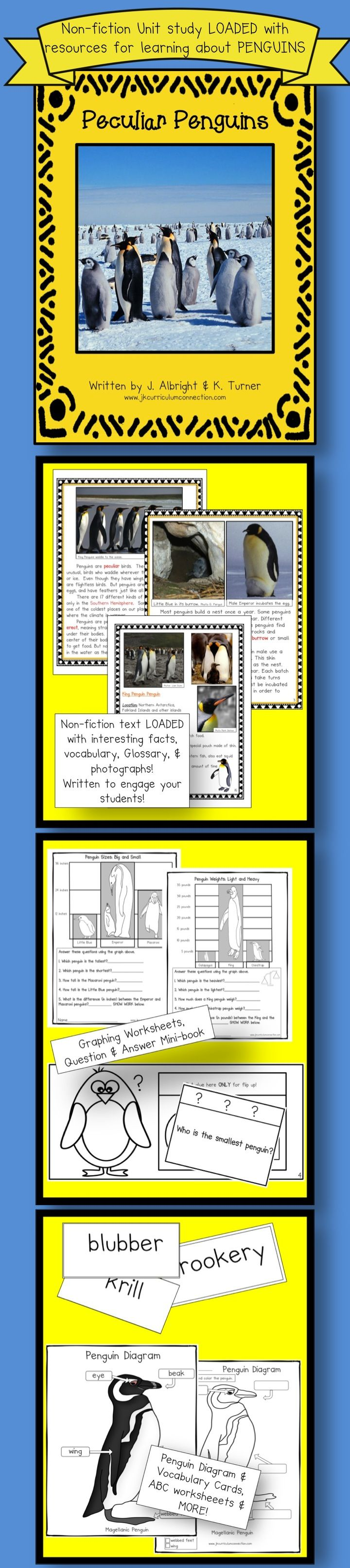This penguin packet has a Shared Reading Non-fiction book that uses real photgraphs to support the detailed information. Loaded with interesting facts about penguins that has been written to engage children! Vocabulary work, Little Readers, Report Writing, Compare & Contrast, Fact & Opinion, Math story problems, graphing & MORE! 108 pages  $8.75 http://www.teacherspayteachers.com/Product/Penguins-Peculiar-Penguins-Non-fiction-Penguin-Unit-CCSS-968624