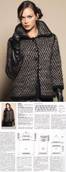 Вязание спицами - Кардиган в елочку - имитация твидовой ткани