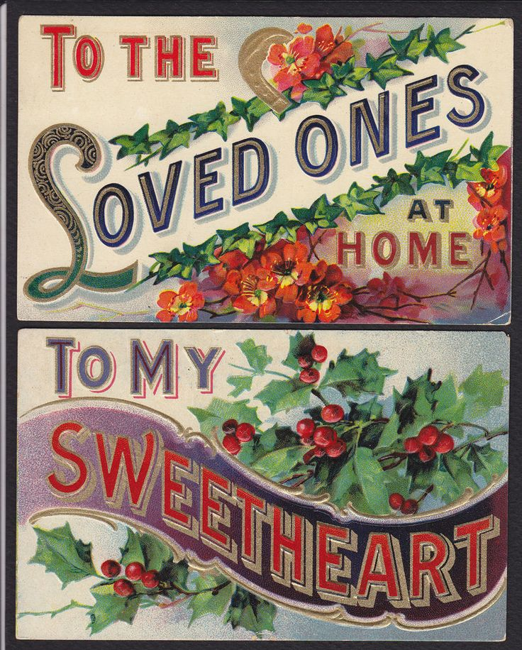 2-To My Sweetheart-Loved Ones At Home-Holly-Large Letter-Antique Postcard Lot