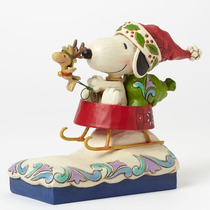 Jim Shore Peanuts Gang Snoopy Santa With Woodstock Figurine Dashing ...