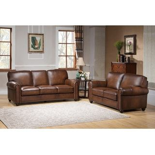 Oasis Premium Brown Top Grain Leather Sofa and Loveseat | Overstock.com Shopping - The Best Deals on Sofas & Loveseats