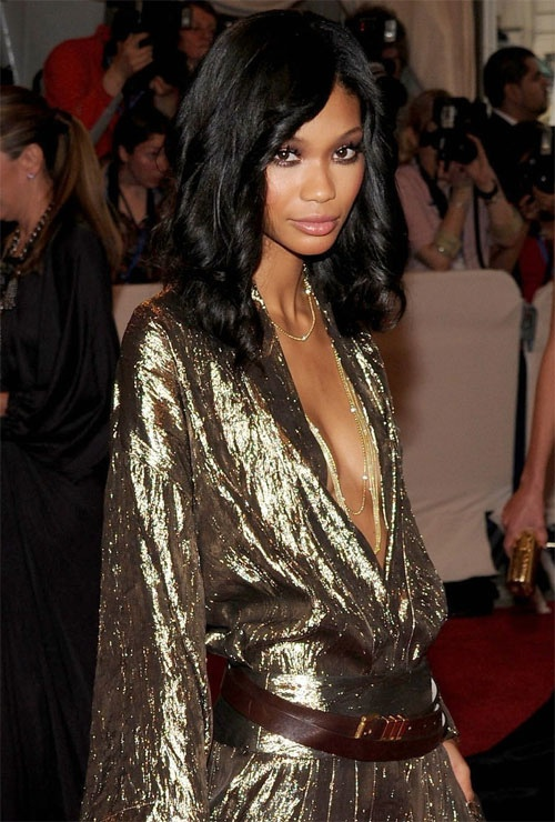 Chanel Iman in an amazing 70's style gold dress