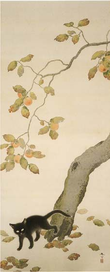 Cat with Persimmon, Hishida Shunsō / 菱田 春草. Japanese (1874 - 1911)