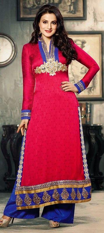 419083:  Jacquard, Resham, Moti, Stone, Patch, Lace.  #GetThisLook like actress #AmishaPatel. #salwarkameez #Bollywood #Palazzo #Partywear #Ethnic #wedding #Onlineshopping #colorblock