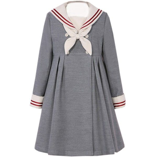 Partiss Women's Cotton Red Sailor School Uniform Sweet Lolita Dress,... (455 CNY) via Polyvore featuring dresses, gray cotton dress, red day dress, red dress, grey dress and red cotton dress