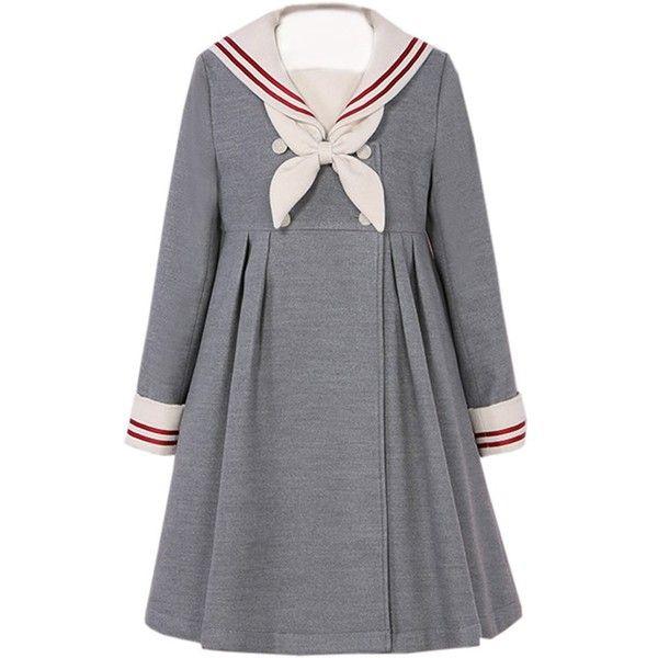Partiss Women's Cotton Red Sailor School Uniform Sweet Lolita Dress,... (455 CNY) via Polyvore featuring dresses, gray cotton dress, red day dress, red dress, grey dress and red cotton dress