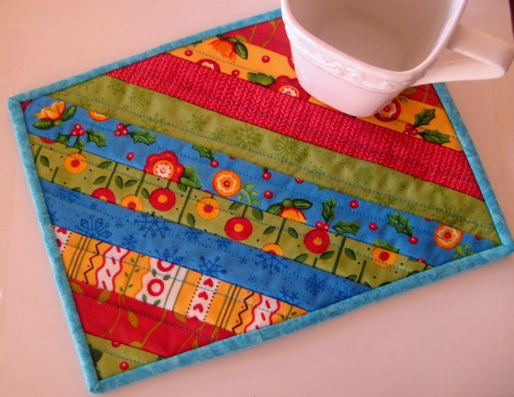 Quilted Mug Rug Snack Mat Coaster Placemat #58 Patchwork Eco-Friendly