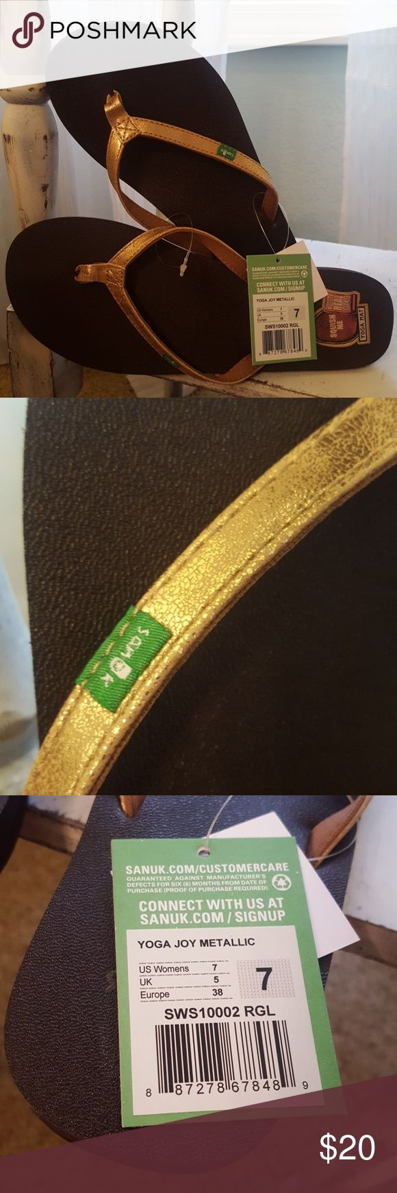 NWT Sanuk Flip Flops size 7 NWT Sanuk Flip Flops size 7. Gold metallic in color.  Made with real yoga mats.  Very comfy.  Non smoking home. Sanuk Shoes Sandals
