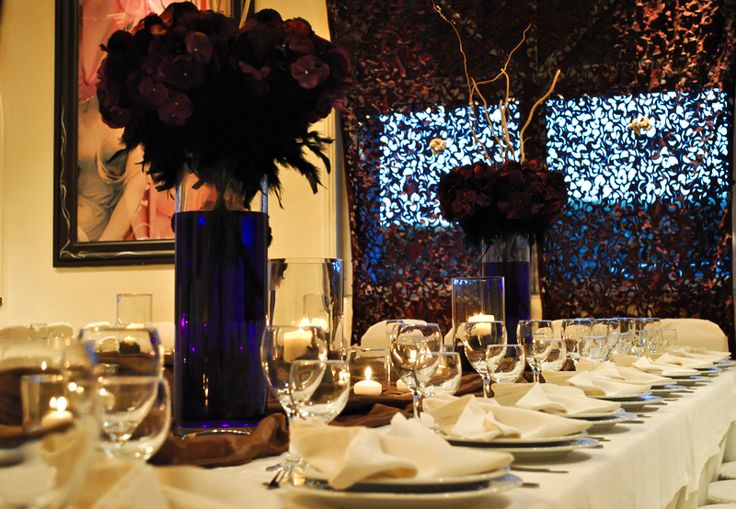#autumn #dinner #purple #brown #black #event #engagement #candle
