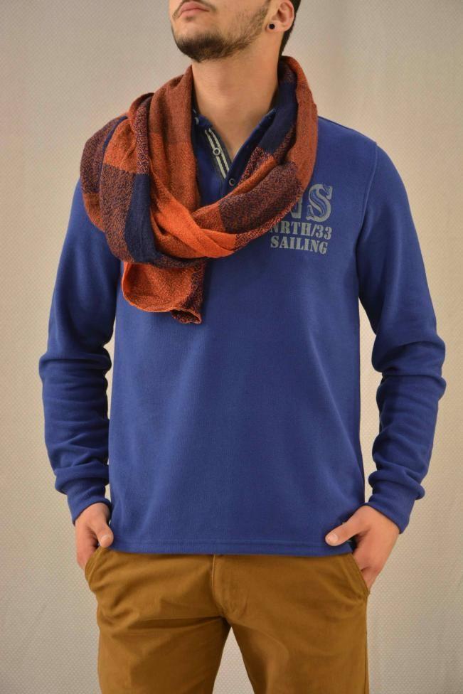 Ανδρική μπλούζα πλεκτή πόλο  MPLU-07766-bl Πλεκτά - Πλεκτά και ζακέτες