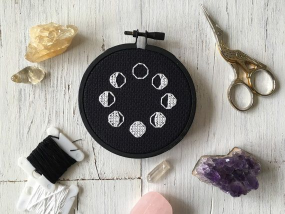Phases of the Moon Lunar Cross Stitch - Subversive Cross Stitch - Lunar Cross Stitch - Moon Phases Cross Stitch