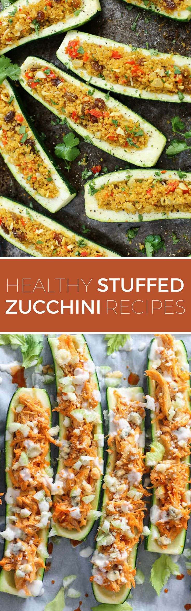 10 Healthy Stuffed Zucchini Recipes // Have an excess of summer zucchini? Stuff it to the brims with all of your favorite fillings for an easy, low-carb dinner.