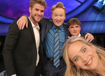 Jennifer Lawrence, Josh Hutcherson & Liam Hemsworth onConan