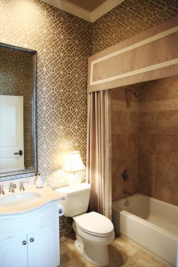 EJ Interiors - bathrooms - Neutral bathroom, geometric wallpaper from Schumacher, custom shower curtain with valance, neutral linen fabric w...