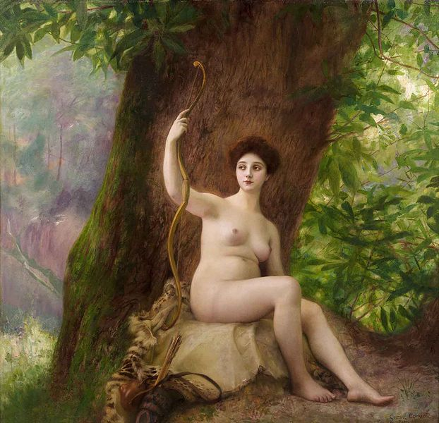 Woman as Diana in nature, by Gustave Courtois, 1903
