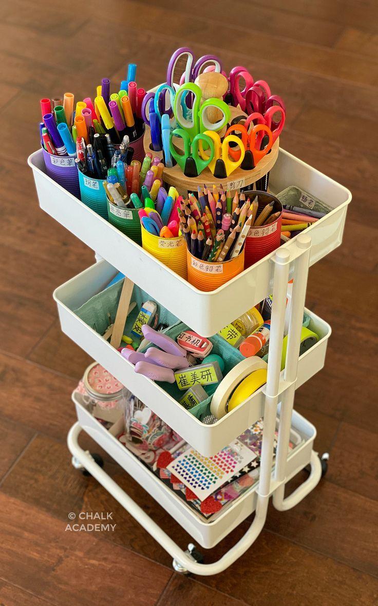 Kids Art Cart Storage System And Organization Tips Kids Art Supplies Art Cart Art For Kids