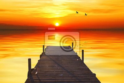 Fototapeta koupala ve světle úsvitu Pier
