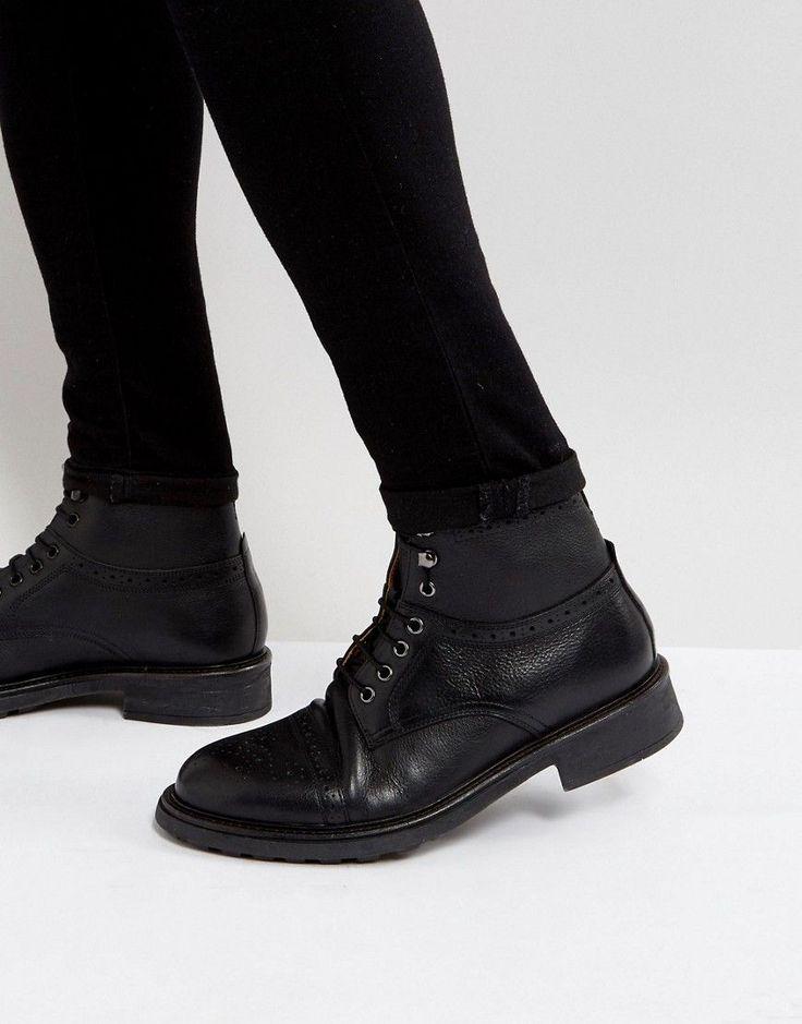 Hudson London Fernie Leather Lace Up Brogue Boots - Black