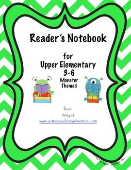 Reader's Notebook for Upper Elementary with monster theme from mycutegraphics. This notebook is for students and has an attractive cover with small themed reading monsters throughout, appropriate for boys and girls.This notebook has a table of contents that lets students know where to put pages.