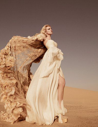 Bri- stand in stone archway w/this pose....♂ Fashion editorials photography lady in cream feminine beauty dress flow beige desert
