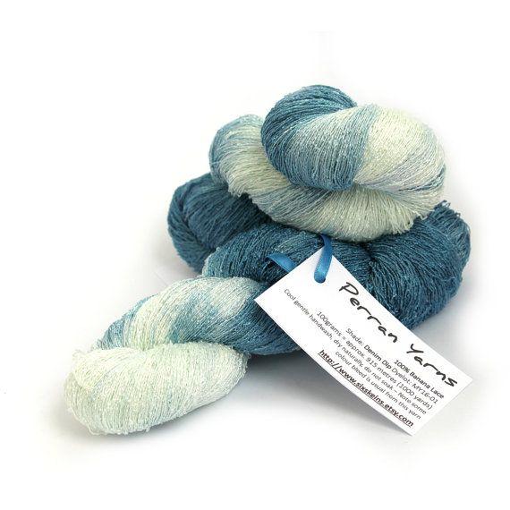 Handdyed laceweight banana yarn, hand dyed vegan silk, natural fiber lace yarn,denim blue aqua knitting crochet wool, uk seller, yarn skein