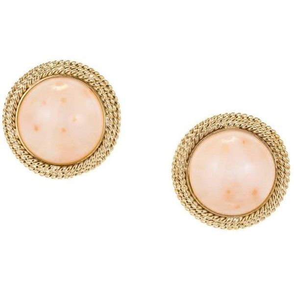 Preowned Midcentury Pink Dome Coral Gold Clip Post Earrings ($2,620) ❤ liked on Polyvore featuring jewelry, earrings, red, coral earrings, gold earrings, post earrings, gold post earrings and vintage red earrings
