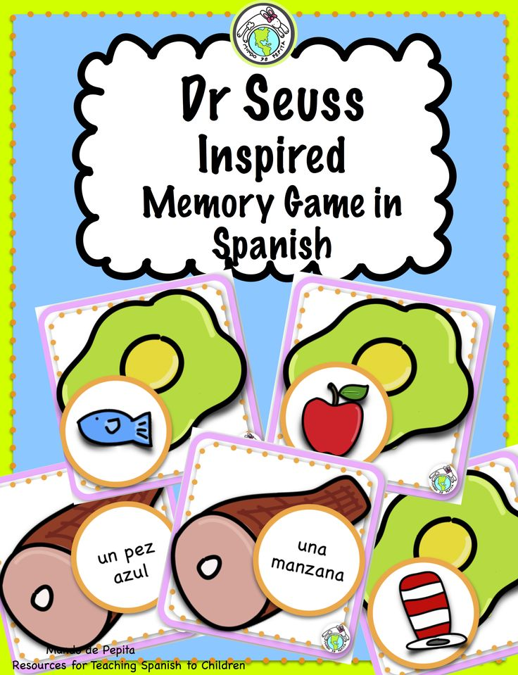 Dr Seuss inspired Memory Game in Spanish, perfect to celebrate his birthday, and practice vocabulary, and just right for elementary Spanish class! Mundo de Pepita, Resources for Teaching Spanish to Children